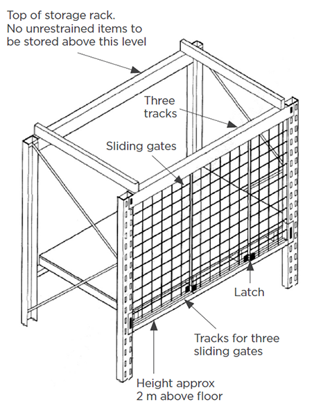[image[ Suggested seismic shelving restraint of items in storage racks
