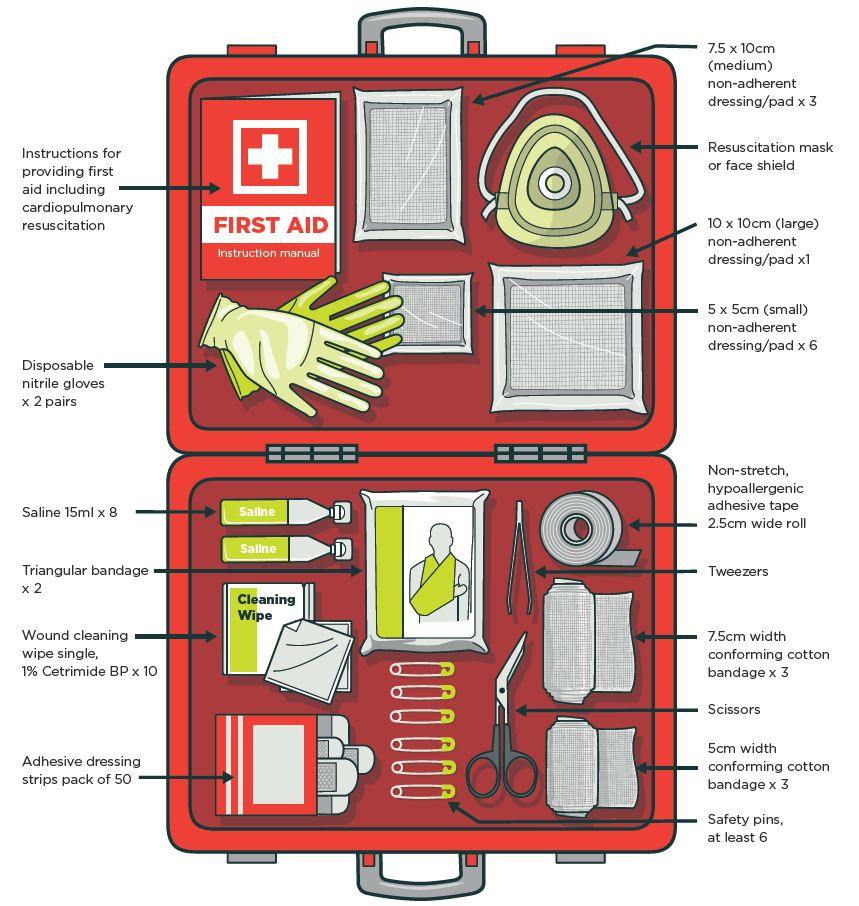 [image] First aid sample contents of a work first aid kit