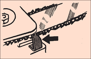 [Image] Black arrow indicates chain catcher next to chain.