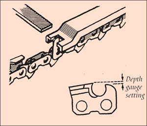 [Image] Close up of a chain and how to use a flat file and correct depth gauge tool; black arrows show the depth gauge setting.