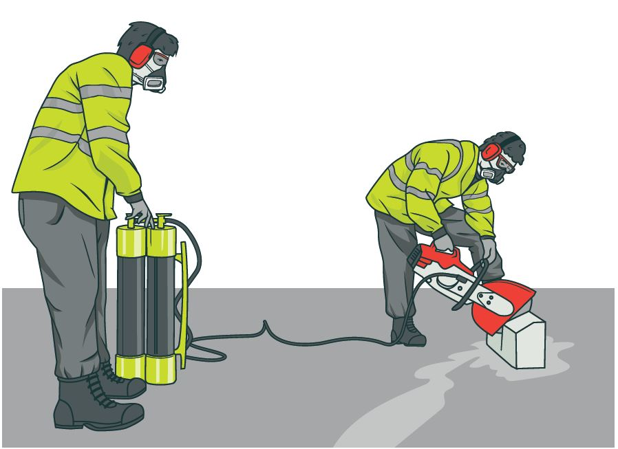 Two workers using power tools with water supression