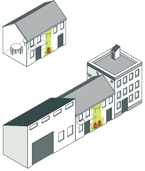 [image] An illustration of a standalone building and building attached to another occupied building with LPG canisters highlighted.