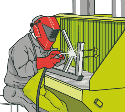 [image] A masked man welding sitting at a bench