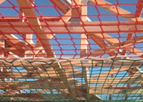 [image[] View beneath safety nets joined together by lacing